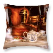 Kettle -  Have Some Tea - Chinese Tea Set Throw Pillow by Mike Savad