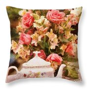 Kettle - More Tea Milady  Throw Pillow by Mike Savad