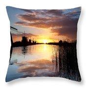 Kinderdijk Sunrise Throw Pillow by Dave Bowman