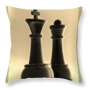 King And Queen In Sepia Throw Pillow by Rob Hans