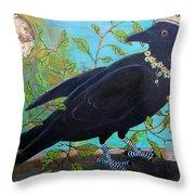 King Crow Throw Pillow by Blenda Studio
