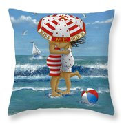 Kiss Me Quick Throw Pillow by Peter Adderley