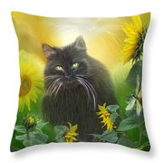 Kitty In The Sunflowers Throw Pillow by Carol Cavalaris