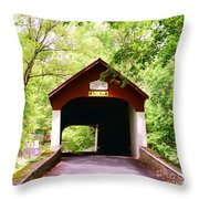 Knecht's Covered Bridge Throw Pillow by Paul Ward