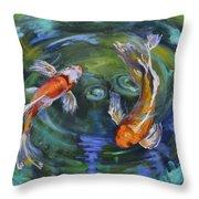 Koi Swirl Throw Pillow by Donna Tuten
