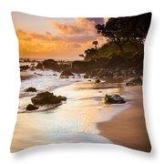 Koki Beach Sunrise Throw Pillow by Inge Johnsson