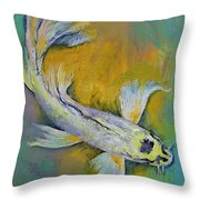 Kujaku Butterfly Koi Throw Pillow by Michael Creese