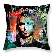 Kurt Cobain Portrait Throw Pillow by Gary Grayson