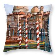 la chiesa della salute sul canal grande Throw Pillow by Guido Borelli