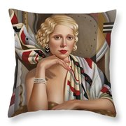 La Femmeen Soiehi  Throw Pillow by Catherine Abel