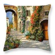La Porta Rossa Sulla Salita Throw Pillow by Guido Borelli
