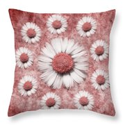 La Ronde Des Marguerites - Pink 02 Throw Pillow by Variance Collections