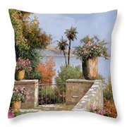 La Terrazza Un Vaso Due Palme Throw Pillow by Guido Borelli