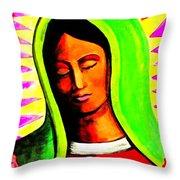 La Virgen Arizona Throw Pillow by Michelle Dallocchio