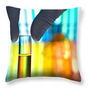 Laboratory Test Tube In Science Research Lab Throw Pillow by Science Research Lab By Olivier Le Queinec