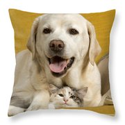 Labrador With Cat Throw Pillow by Jean-Michel Labat