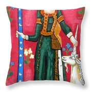 Lady and The Unicorn la pointe Throw Pillow by Genevieve Esson