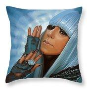 Lady Gaga Throw Pillow by Paul Meijering