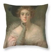 Lady In Pink Throw Pillow by Joseph W Gies