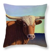 Lady Longhorn Throw Pillow by James W Johnson