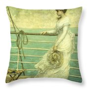 Lady On The Deck Of A Ship  Throw Pillow by French School