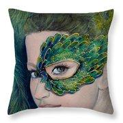 Lady Peacock Throw Pillow by Dorina  Costras