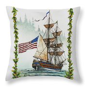 Lady Washington And Holly Throw Pillow by James Williamson