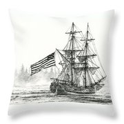 Lady Washington At Friendly Cove Throw Pillow by James Williamson