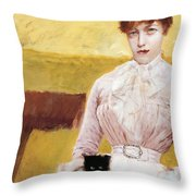Lady With Black Kitten Throw Pillow by Giuseppe De Nittis
