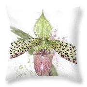Ladys Slipper - Orchid 16n - Elena Yakubovich Throw Pillow by Elena Yakubovich