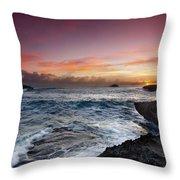 Laie Point Sunrise Throw Pillow by Sean Davey