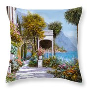 Lake Como-la Passeggiata Al Lago Throw Pillow by Guido Borelli