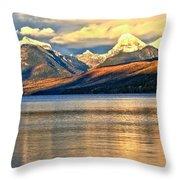 Lake Mcdonald Sunset Throw Pillow by Adam Jewell