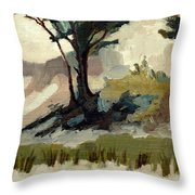 Lake Michigan Dunes with Trees Diptych 2 Throw Pillow by Michelle Calkins