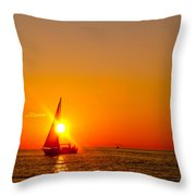 Lake Michigan Sunset Throw Pillow by Bill Gallagher