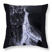 Lake Shore Drive Aerial  B And  W Throw Pillow by Steve Gadomski