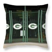Lambeau Field - Green Bay Packers Throw Pillow by Frank Romeo