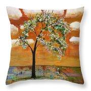 Landscape Art Scenic Tree Tangerine Sky Throw Pillow by Blenda Studio