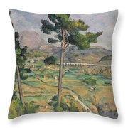Landscape With Viaduct Throw Pillow by Paul Cezanne