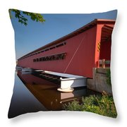 Langley Covered Bridge Michigan Throw Pillow by Steve Gadomski