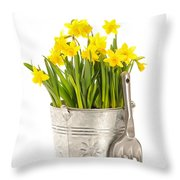 Large Bucket Of Daffodils Throw Pillow by Amanda And Christopher Elwell