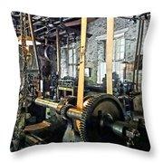 Large Lathe In Machine Shop Throw Pillow by Susan Savad