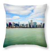 Large Picture Of Downtown Chicago Skyline Throw Pillow by Paul Velgos