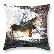 Largemouth Bass p180 Throw Pillow by Wingsdomain Art and Photography