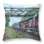 Last Train Under The Bridge Throw Pillow by Cliff Wilson