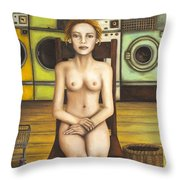 Laundry Day 5 Throw Pillow by Leah Saulnier The Painting Maniac
