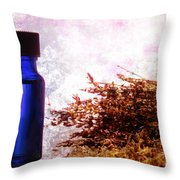 Lavender Essential Oil Bottle Throw Pillow by Olivier Le Queinec