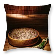 Lavender Flowers And Seeds Throw Pillow by Olivier Le Queinec
