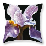 Lavender Iris On Black Throw Pillow by Sharon Freeman