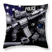 Law Enforcement Tactical Police Throw Pillow by Gary Yost